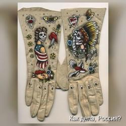 Перчатки с необычными рисунками. Фото